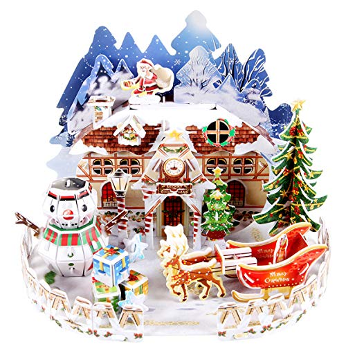 itsfun 3D Puzzle for Kids Snow Cottage Model Kits Christmas Jigsaw Puzzles Family Toys for Boys and Girls,Desk Christmas Decor (57 PCS)