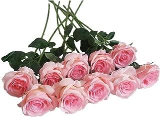 Eternal Blossom 10pcs Artificial Rose Silk Flower 50cm Fake Rose Blossom Bridal Bouquet for Home Wedding Decor (Light Pink)