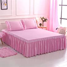 RUIDP Bed Skirt Solid Color Lace Princess Bed Polyester Valance Fitted Valance Fitted Sheets Double Bed Valance Sheet Double Pink Base Valance Sheet Washable Abrasion resistantadam