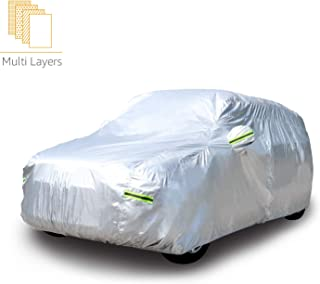 AmazonBasics Silver Weatherproof Car Cover - PEVA with Cotton, SUVs up to 193