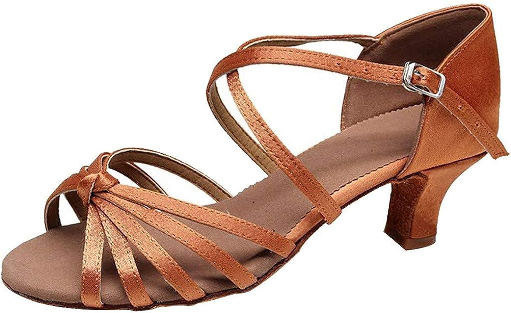 KAIXINDAJ Women's Waltz Prom Ballroom Latin Salsa Dance Shoes Sandals for Women Dress Square Closed Toe Salsa Tango Rhinestone Dance Shoes