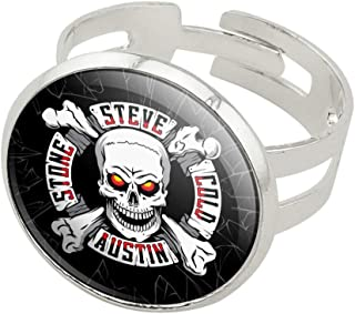 GRAPHICS & MORE WWE Stone Cold Steve Austin Broken Glass Logo Silver Plated Adjustable Novelty Ring