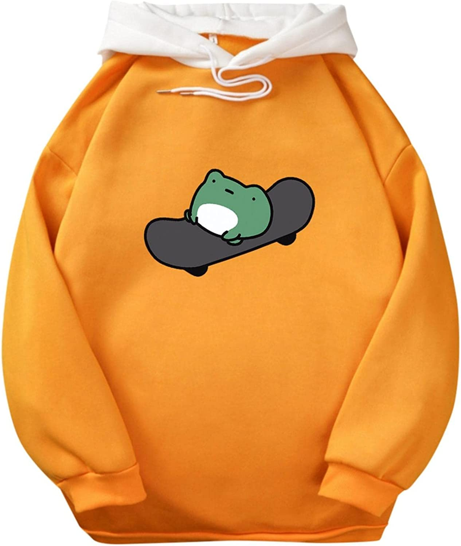 Cute Hoodies for Teen Girls Trendy Aesthetic Skateboard Frog Drawstring Hoodies Casual Crewneck Sweatshirt with Pocket