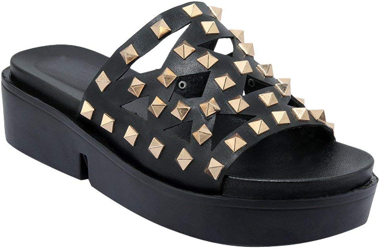 Ghapwe Women's Comfort Rivet Mid Heel Platform Sandals Slippers Pink 8 M US