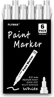 White Paint Pens, 6 Pack 2.5mm Medium Tip White Paint Marker Permanent for Wood Rock Plastic Leather Glass Stone Metal Can...