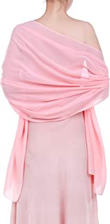 Womens Chiffon Bridal Evening Soft Wrap Scarf Shawl, Chiffon Scarf Ribbon Scarf Satin Scarf for Women and Girls