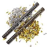 PartyMarty 2X XXL Konfetti-Shooter Gold und Silber 80 cm - Party Popper Konfettikanone Konfettishooter Streamer - für Hochzeit