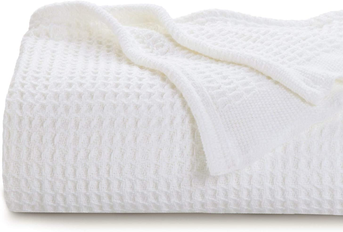 Bedsure 100% Cotton Blankets Twin NEW Size Waffle White Wea National uniform free shipping - 405GSM