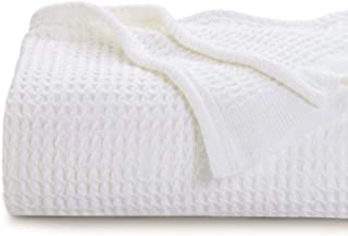 Bedsure 100% Cotton Thermal Blanket - 405GSM Soft Blanket in Waffle Weave for Home Decoration - Perfect for Layering Any Bed for All-Season - Full/Queen Size (90 x 90 inches), White