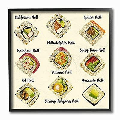 The Stupell Home Decor Collection Sushi Roll Illustration Chart Stretched Canvas Wall Art