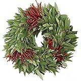 McFadden Farm Fresh Bay Leaf Wreath with Three Sets of Chilies