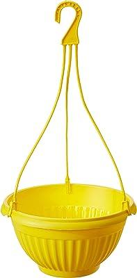 Gardens Need 100% Virgin Plastic Daizy Hanging | Set of 4 Hanging Planter, (22cm x 22cm x 24cm, Yellow)