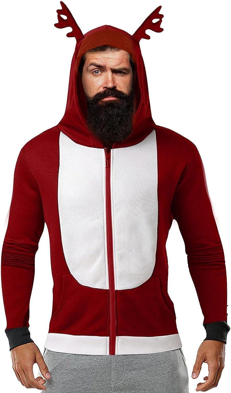 Xmas Christmas Hoodies For Men Closplay Elk Contrast Full-Zip Hooded Sweatshirt Long Sleeve Pullover Coat