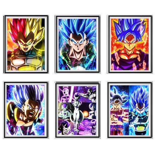 MS Fun DBZ Dragon Ball Super Legend of Saiyan Vegeta Goku Frieza Giclee Lienzo para pared, póster para decoración, juego de 6, obras de arte originales de lienzo, 20 x 25 cm, sin marco