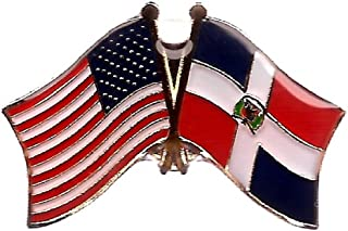 Pack of 3 Dominican Republic & US Crossed Double Flag Lapel Pins, Dominican & American Friendship Pin Badge