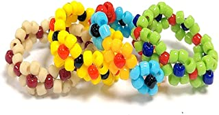 caiyao Handmade 4 Pcs Colorful Beaded Flower Stretch Ring Multicolor Seed Daisy Multiple Wildflowers Adjustable Size Elast...