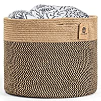 Thread Natural Storage Basket, made by jute and cotton rope, this woven basket made by safe material without any chemicals Soft and firm basket for laundry organization, sturdy enough to stand up by itself, you also can fold it when not using. No col...