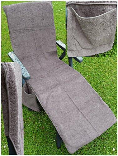 KH-Haushaltshandel Frottee Liege Stuhl Schon Bezug, mit Seitentasche, 190 x 60 cm, für Gartenliege Strandliege, Baumwolle, ÖKOTEX (grau)
