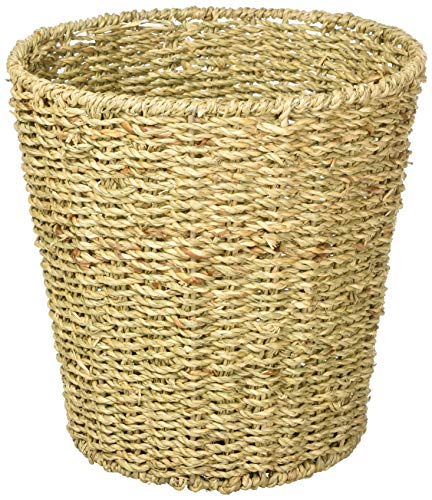 B&C Home Goods Waste Bin - Woven Waste Paper Basket for Bedroom, Kitchen, Bathroom or Office - Seagrass Trash Can - Versatile wastebasket for garbage and rubbish