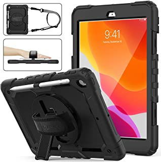 SEYMAC Stock iPad 8th/7th Generation Case, Three Layer Hybrid Drop Protection Case with [360 Rotating Stand] Hand Strap &[...