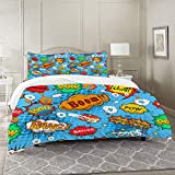 Xisheep Juegos de Fundas para edredon,Ropa de Cama,Superhero Colorful Comic Style Icons Effects Boom Scream Magazine Signs Pop Art Illustarion,Fibrae Xtrafina,Edredones y 2 Almohadas
