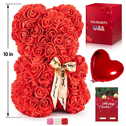 "Rose Bear Teddy with Ribbon – 10"" Flower Bear with 300+ Artificial Roses – Gift Boxed for Her with Balloon and Customizable Greeting Card for Christmas, Valentines Day, Anniversary and Birthday"