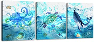 Ruidecor 3 Pieces Canvas Wall Art Animal Painting Canvas Prints for Kids Room Bathroom Bedroom Living Room Wall Decoration Sea Animals Modern Art Sea Turtle Octopus Whale Boys Girls Gifts (12x16inx3)
