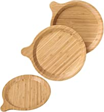 Bamboo Plate set Round plate Bamboo Reusable Plates Wood Plates Nature Dinnerware Bamboo tableware Bamboo Tray Dinner Plat...