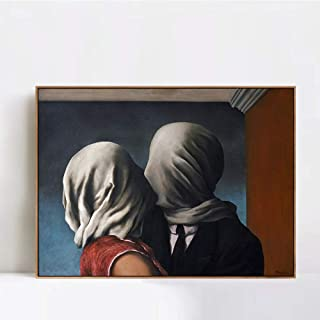 INVIN ART Framed Canvas Giclee Print Art The Lovers 1928 by Rene Magritte Wall Art Living Room Home Office Decorations(Wood Color Slim Frame,24