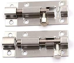 Deurgrendel 2pc 2 inch lange zilveren roestvrijstalen deurklink schuifslot vat bolt grendel hasp nietje poort veiligheidss...