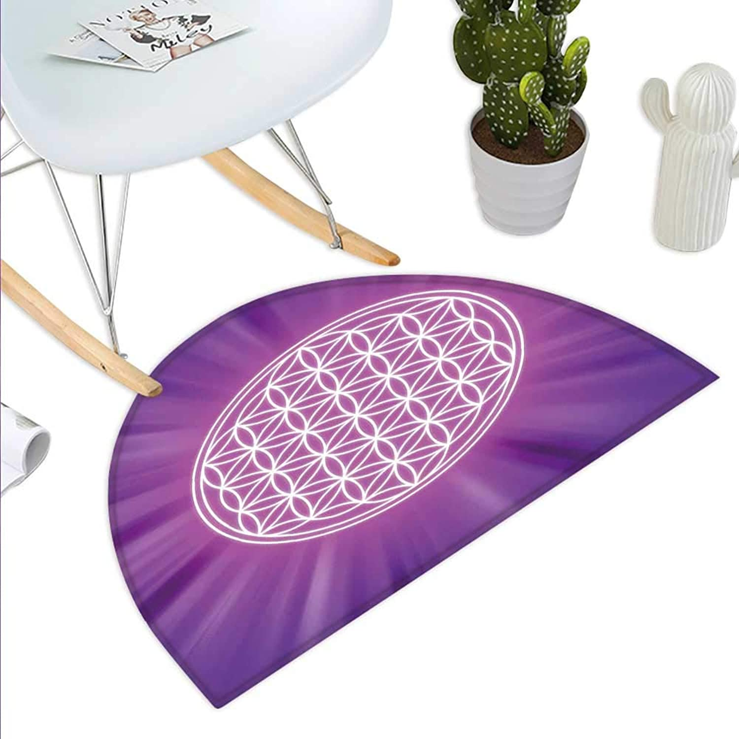 Sacred Geometry Semicircle Doormat Abstract Overlapping Circles on Spiritual Vibrant Background Print Halfmoon doormats H 39.3  xD 59  Fuchsia Purple