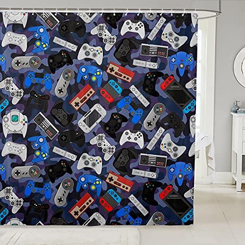 3D-Gamepad-Duschvorhang für Ställe, Badewannen, Videospiel, Gamepad, Badezimmer, Duschvorhang-Set, dekorativer Neuheit, Spielsteuerung, Badevorhang, Gamerkonsole, wasserdicht, 183 x 198 cm