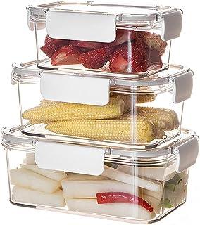 Haucy Lot de 3 Boîtes Alimentaires en Verre Récipients Carré en Verre Empilables, Stockage des Aliments, Boîtes de Conserv...