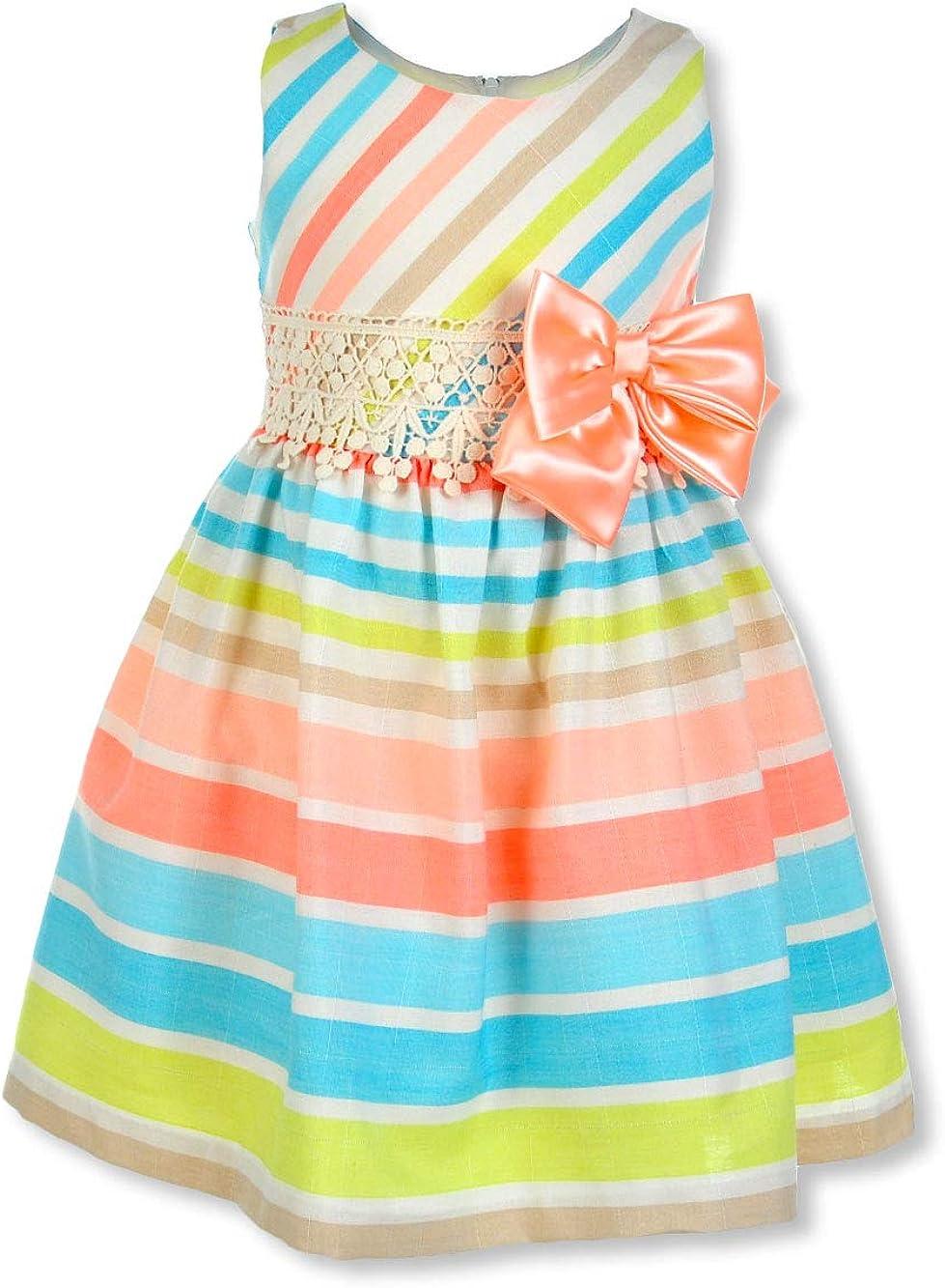 Bonnie Jean Girls' Spring Bow Linen Dress