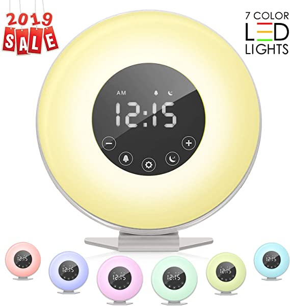 ACETEND Sunrise Alarm Clock Wake Up Light 6 Nature Sounds FM Radio Color Light Bedside Sunrise Simulator Touch Control For Heavy Sleepers
