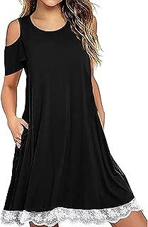 Womens Summer Fall Short Sleeve/Long Sleeve Lace Hem T-Shirt Loose Dress with Pockets, LIM&Shop Tunic Dress Pullover