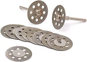 Lukcase 10 pcs Diamond Cutting Wheel Cut Off Discs Coated Rotary Tools W/Mandrel 22mm for Dremel