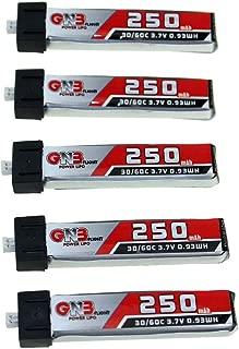 EGFHEAL 5PCS LDARC GAONENG GNB 3.7V 250mAh 1S 30C/60C Rechargeable Lipo Battery for Blade for Nano QX CPX Tiny Whoop PH1.25