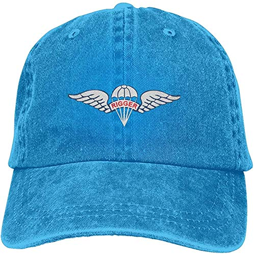 Us Army Fallschirm Rigger Flügel Abzeichen Verstellbar Vintage Washed Denim Baumwolle Dad Hat Baseball Caps Outdoor Sonnenhut Blau