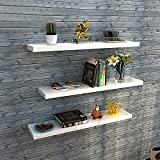aimu Set of 3 Floating Wall Shelves,Wooden Shelves for Wall,Home Storage Organizer Shelf, Display Shelves with...