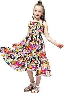 Flenwgo Girls Dress Kids Floral Sundress Ruffle Bohemian Dress Summer Casual Dress Beach Dress