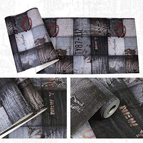 SUNLIJINYI Industrie Stil Wand Papier, Nordic Retro Non Self Adhesive Wasserdicht und Feuchtigkeit Beweis Tapeten, Restaurant KTV Bar Wand Aufkleber (Color : A)