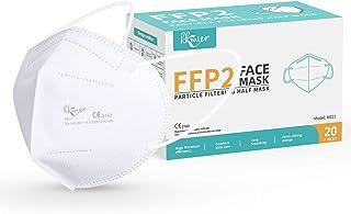 KKmier Mascarillas FFP2 Homologadas, Mascarilla (20 Pack) ffp2 con Pendientes Elásticos y Clip Nariz Adaptable, Protección...