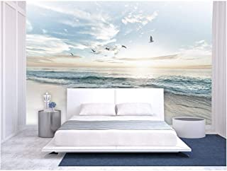 wall26 - Large Wall Mural - Seacape with Waves on The Beach and Flying Seagulls | Self-Adhesive Vinyl Wallpaper/Removable Modern Wall Decor - 66x96 inches