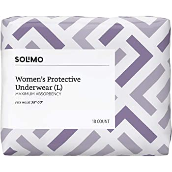 Amazon Brand - Solimo Incontinence Protective Underwear for Women, Maximum Absorbency, Large, 54 Count (3 packs of 18)