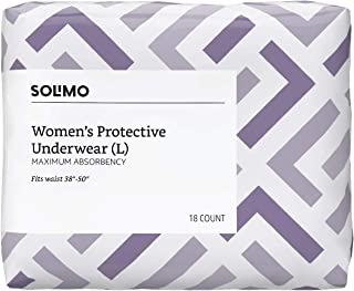 Amazon Brand - Solimo Incontinence Underwear for Women, Maximum Absorbency, Large, 18 Count, Pack of 3