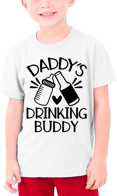 Daddy's Drinking Buddy Boys Girls Tshirts Short Sleeve Cotton T-Shirt Youth Tees Tops XL White