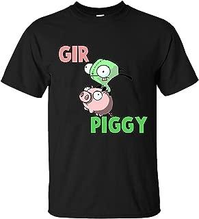 BBUYUXI Invader Zim Gir And Piggy Men's Crew Neck Black T Shirt