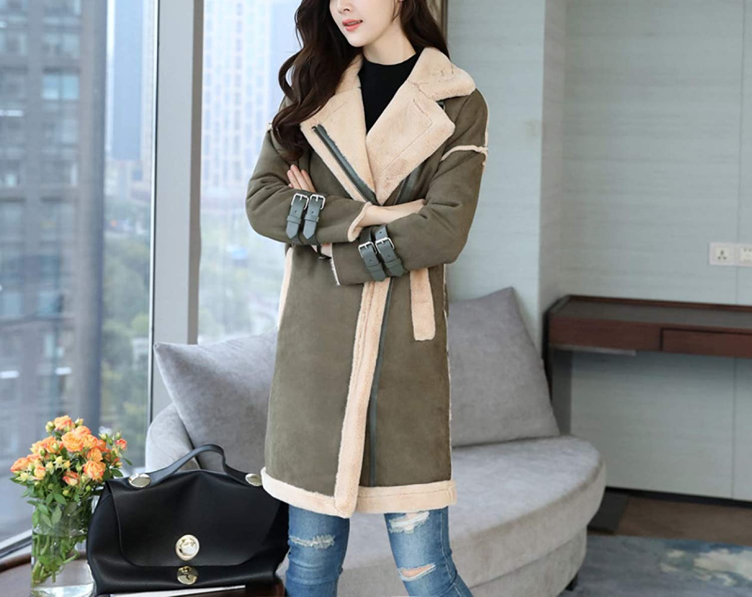 Autumn and Winter Woolen Coat, Women's Warm Cotton Jacket, Women's New Winter Fashion Fur, Long Section Plus Velvet Coat, Ladies Autumn and Winter Coat XQY