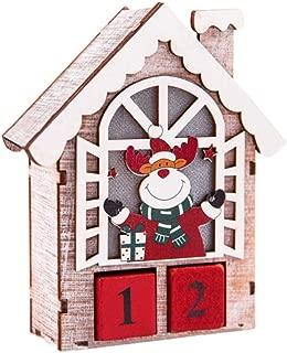 Amosfun Wood Christmas Advent Calendar LED Wood House Xmas Gift Decor Ornament (Elk)